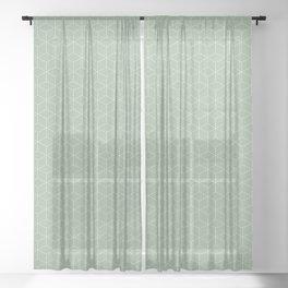 Sashiko stitching Green pattern 1 Sheer Curtain