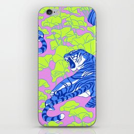 Neon Tigers and Water Lillies. iPhone Skin