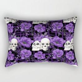 Purple Floral Skull Pattern Rectangular Pillow