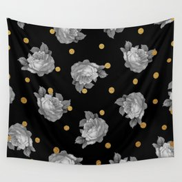 Roses and Gold Dots Wall Tapestry
