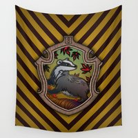 hufflepuff Wall Tapestries featuring Hogwarts House Crest - Hufflepuff by Teo Hoble