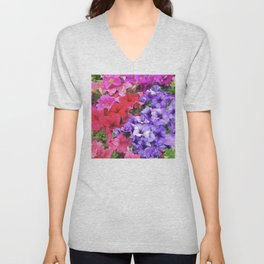 Romantic Red, Pink & Purple Petunia Flowers Unisex V-Neck