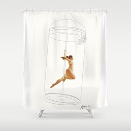 French Press Pole Dancer Shower Curtain
