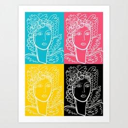 CMYK 4 Portrait of a French Girl Minimal Line Art  Art Print