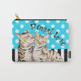 Bengal Cats Polka Dot Watercolor Love Carry-All Pouch