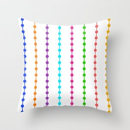 Geometric Droplets Pattern - Rainbow Colors on White Throw Pillow