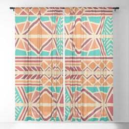 Tribal ethnic geometric pattern 027 Sheer Curtain