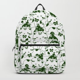 Winter Cats in Hats - Green Backpack