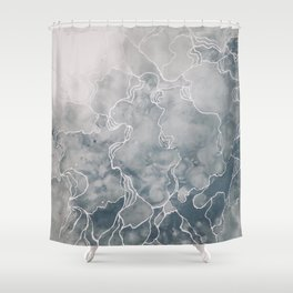 The Awakening (Acrylic Abstract Painting, Grey & White) Shower Curtain