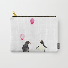 Watercolor Penguins and Balloons Carry-All Pouch