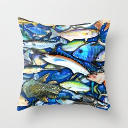 DEEP SALTWATER FISHING COLLAGE Throw Pillow