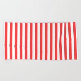 Stripes Red White Beach Towel