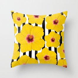 Summer Hibiscus Fun on Black & White Stripes Throw Pillow