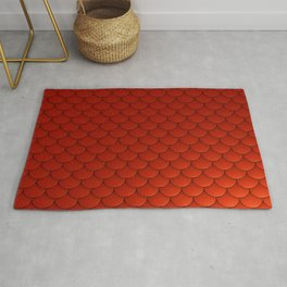 Red Mermaid Scales Rug