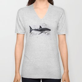 Shark, fish. drawing in oil. Colors Minimalist Free Abstract Colors Spaces Colo Unisex V-Neck