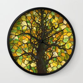 Stained Glass Tree #3 Wall Clock