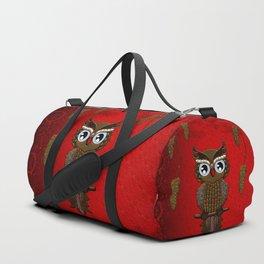 Wonderful steampunk owl on red background Duffle Bag