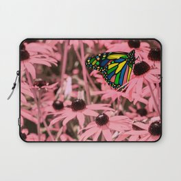 Surreal Monarch on Pink Flowers Laptop Sleeve