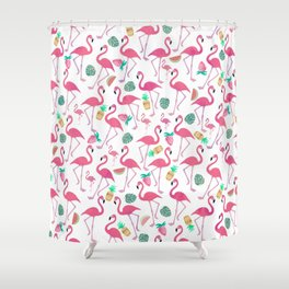 Tropical pink watercolor flamingo sweet summer fruit pattern Shower Curtain