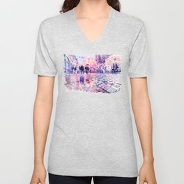 Dublin Watercolor Streetscape Unisex V-Neck