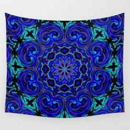 Bright Blue Kaleidoscope Wall Tapestry
