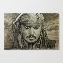 Portrait Captain Jack Sparrow Johnny Depp by Valery Rybakow Canvas Print