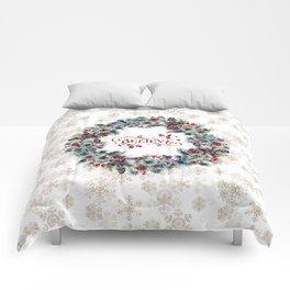 Elegant Believe Typography Christmas Wreath Gold Snowflakes Comforters