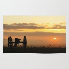 Sunrise on a foggy Battlefield Rug