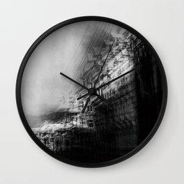 city in monochrome Wall Clock