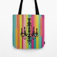 chandelier Tote Bags featuring chandelier by Fairytale ink