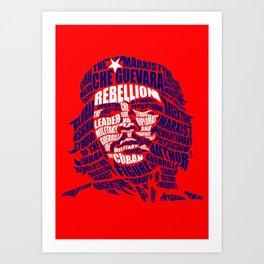 Che Guevara Calligram Art Print
