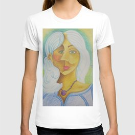 Girl with Green Eyes and Purple Necklace T-shirt