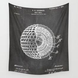 Golf Ball Patent - Golfer Art - Black Chalkboard Wall Tapestry