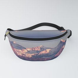 Three Peaks in Violet Sunset Fanny Pack
