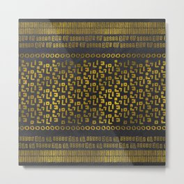 Decorative  Gold and Black Tribal Ethnic  Pattern Metal Print