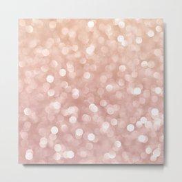 Rosegold Glitter Bokeh Glam Pattern Metal Print