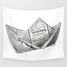 Newspaper Boat Wall Tapestry