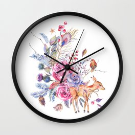 Watercolor cute fawn and vintage roses Wall Clock