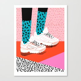 Double Up - retro sneakers, 80s, memphis, shoes, sneaker art print, disruptor sneakers Canvas Print