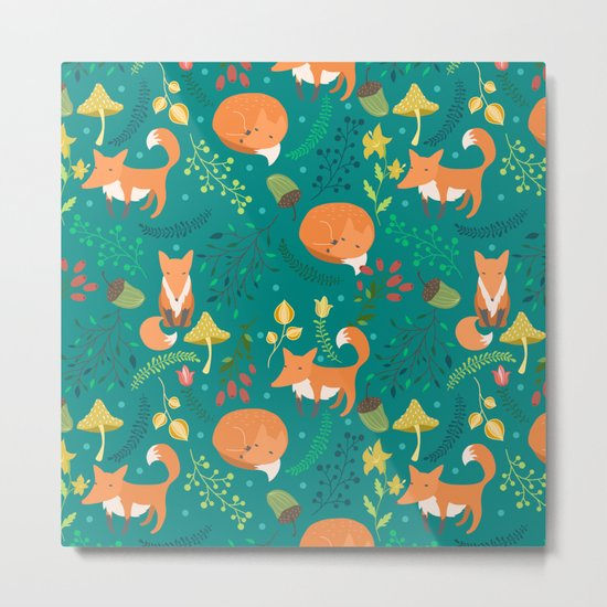 Foxes pattern Metal Print