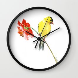 American Goldfinch and Red Flower, Minimalist Yellow Red Floral art Wall Clock