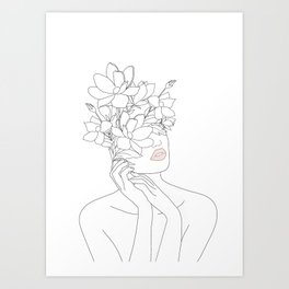 Minimal Line Art Woman with Magnolia Art Print