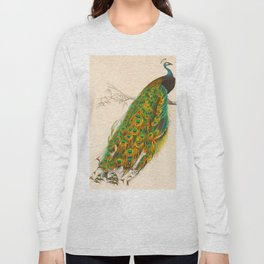 Charles d'Orbigny - Dictionnaire d'histoire naturelle - 1849 Beautiful Colorful Indian Peacock Long Sleeve T-shirt