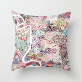 Baton Rouge map Throw Pillow