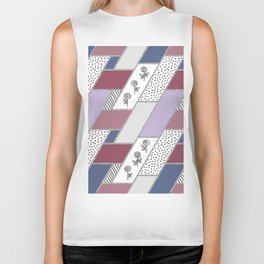 Abstract hand drawn geometric pattern with glitter pink and blue Biker Tank