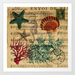 french botanical art music notes starfish seashell Art Print