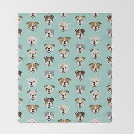English Bulldog pattern print dog breed pet portrait gifts for dog owner bulldog Throw Blanket