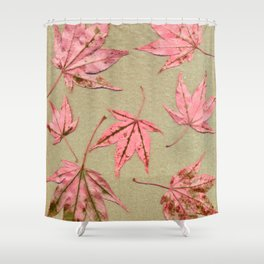 Japanese maple leaves - pink on natural unbleached paper Shower Curtain