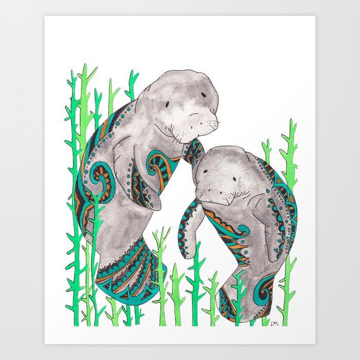 Manatees Art Print