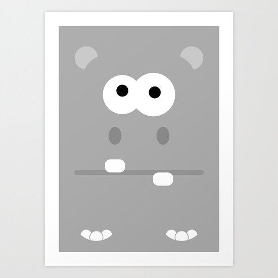 Minimal Hippo Art Print